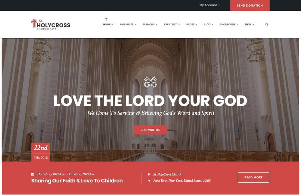HolyCross Church - Creative Church WordPress Theme