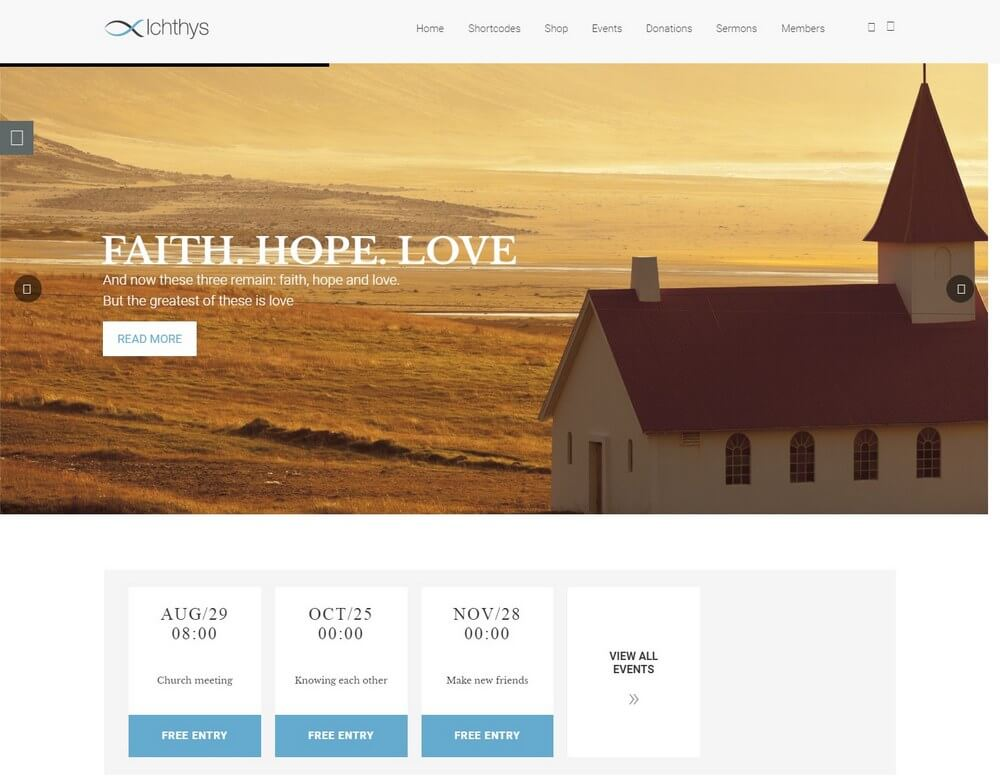 Ichthys - Church Events WordPress Theme