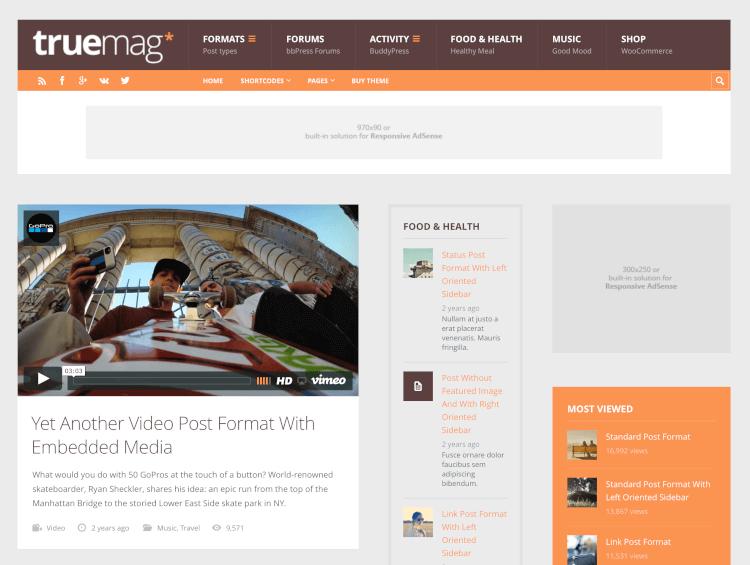 Truemag - Ad & AdSense Optimized Magazine
