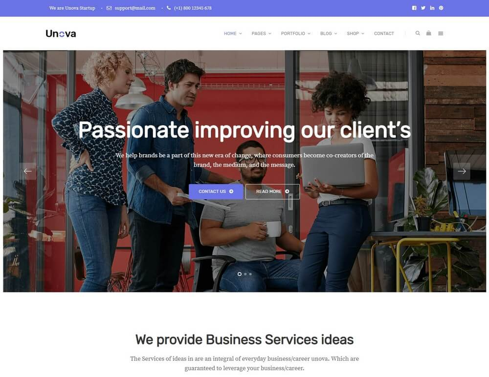 Unova - Consulting Business WordPress Landing Page Theme