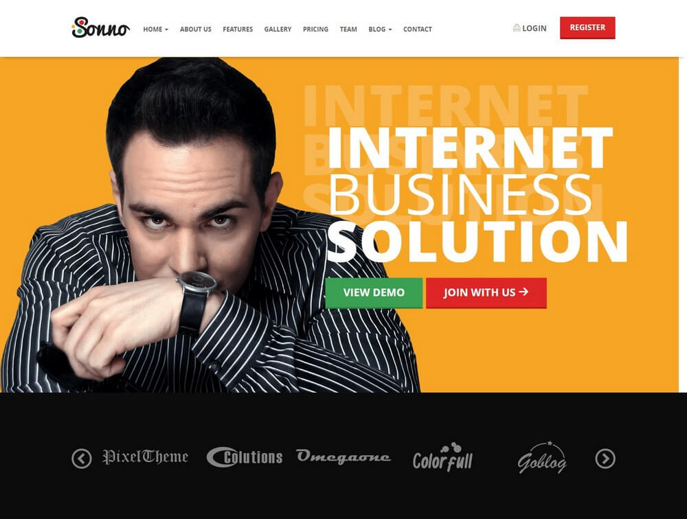 Sonno - Startup Marketing Landing Page WordPress Theme