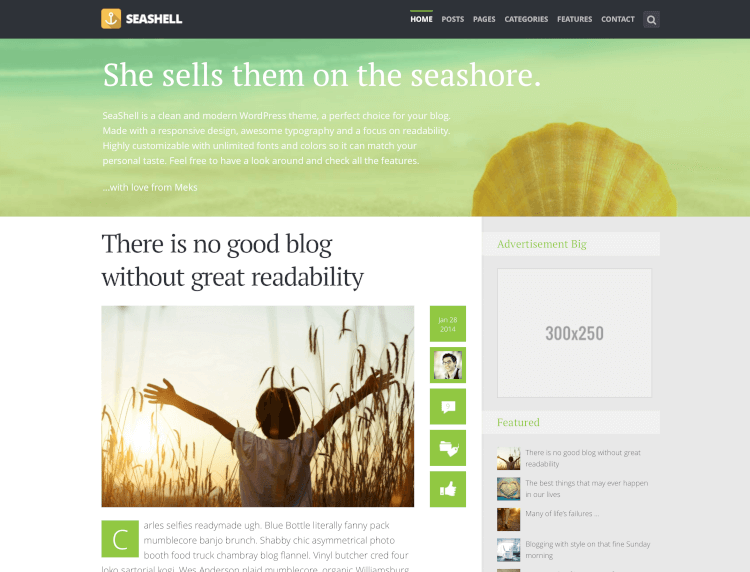 SeaShell - Modern Responsive Blog Theme