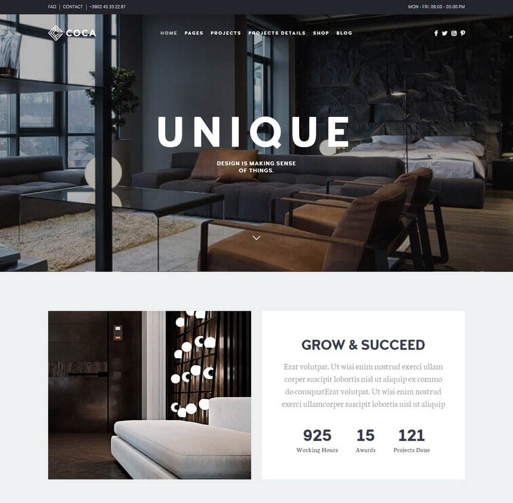 30 best interior design wordpress themes 2018 theme junkie for Interior design wordpress theme