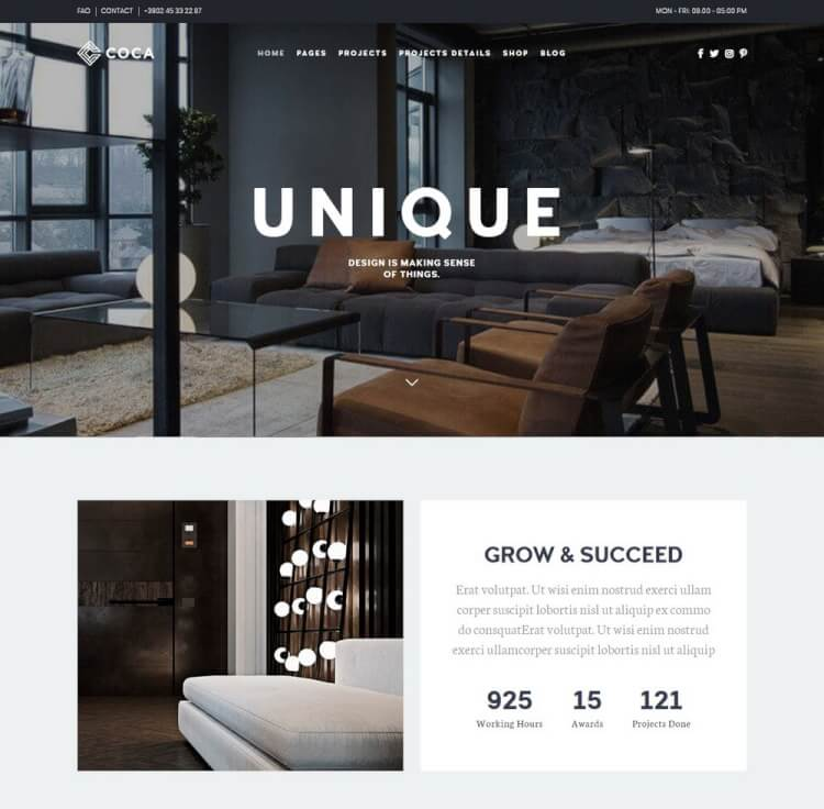 Coca   Architecture U0026 Interior Design WordPress Theme