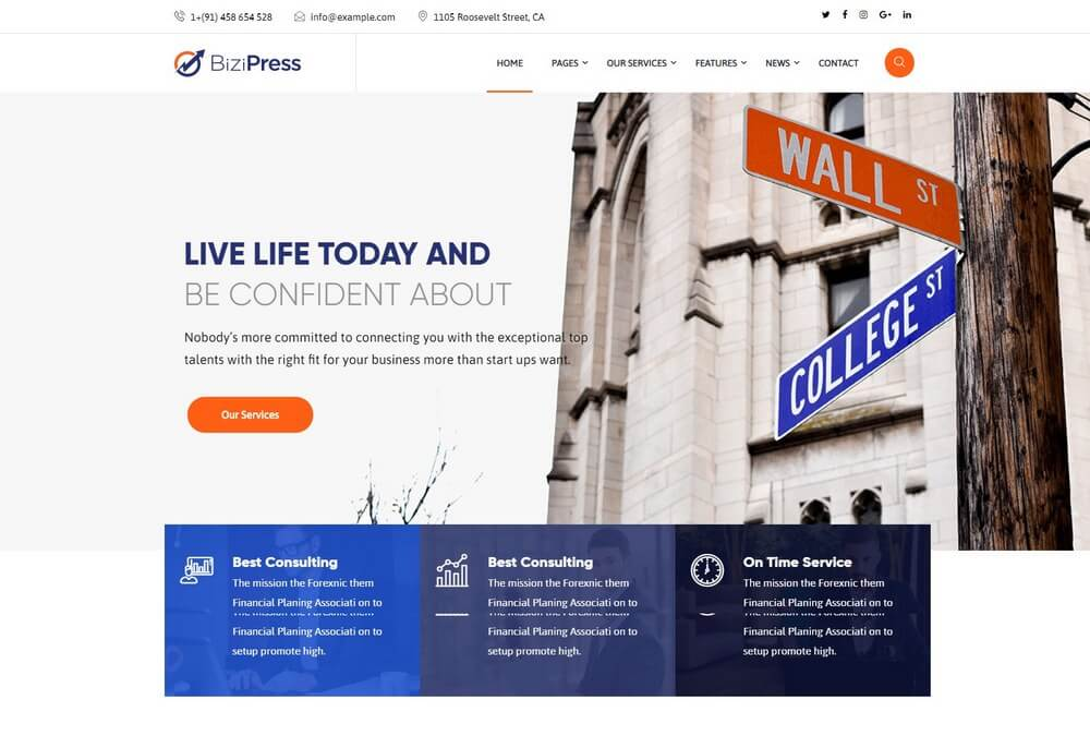 BiziPress - Finance & Consulting Insurance WordPress Theme