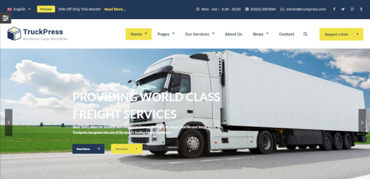 TruckPress - Warehouse, Logistics and Transportation Theme