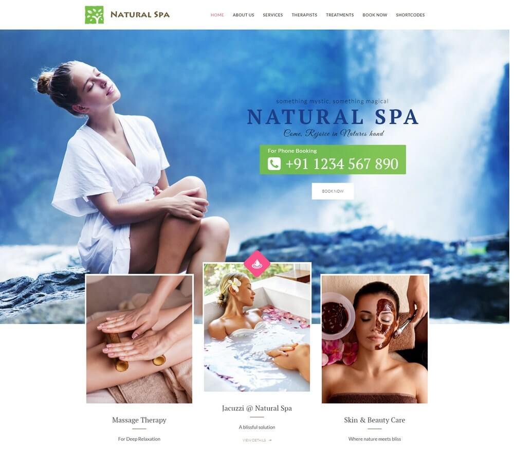 Nature Spa - ธีมความงาม, การนวดและสปา WordPress