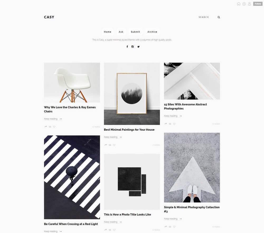 Casy Clean Minimal Portfolio Tumblr Theme