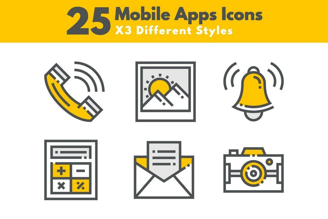 25 Custom Mobile App Icons for iOS & Android