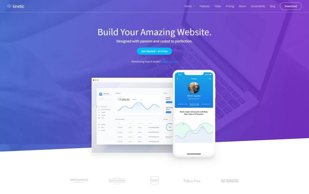 Kinetic - App & Product WordPress Landing Page Theme