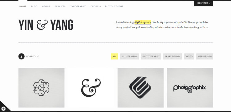 Yin & Yang - Creative WordPress Portfolio Theme