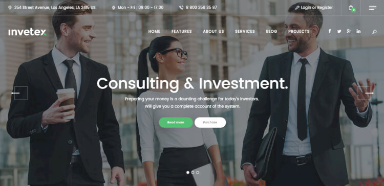 Invetex - Business Consulting WordPress Theme