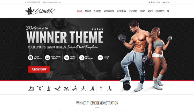 Winner - Gym and Fitness Center WordPress Theme