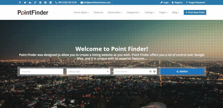 Point Finder - Online Directory and Classifieds WordPress Theme