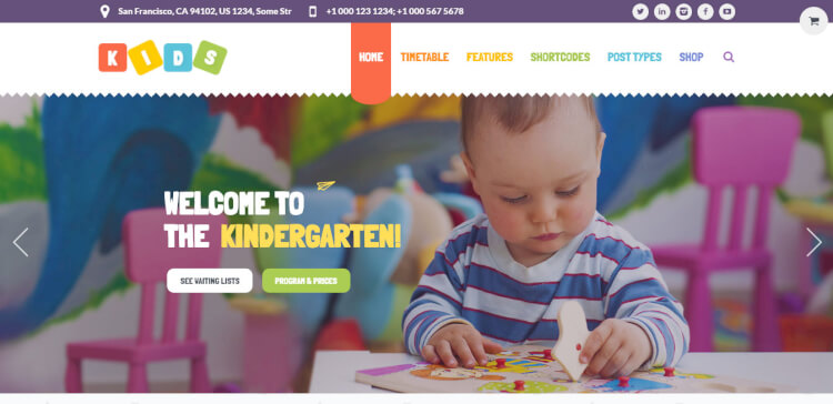 Kids - Day Care and Kindergarten WordPress Theme for Children