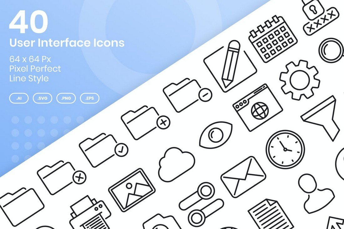 40 User Interface Line Icons Set