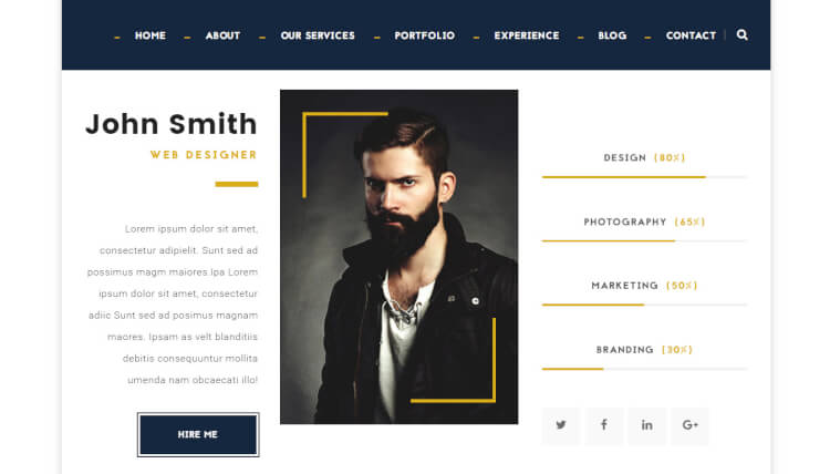 Hire Me - Personal vCard WordPress Theme