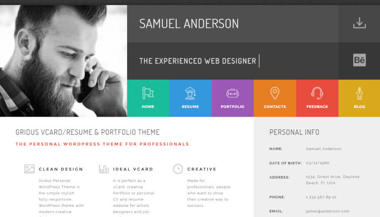 Gridus   Personal VCard WordPress Theme  Personal Resume Websites