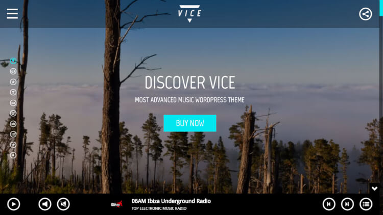Vice - Club and Radio DJ WordPress Theme
