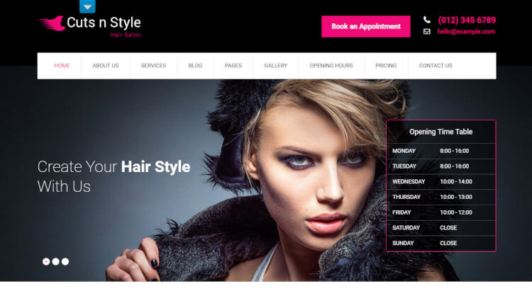 CutsNStyle - Hair Salon WordPress Theme