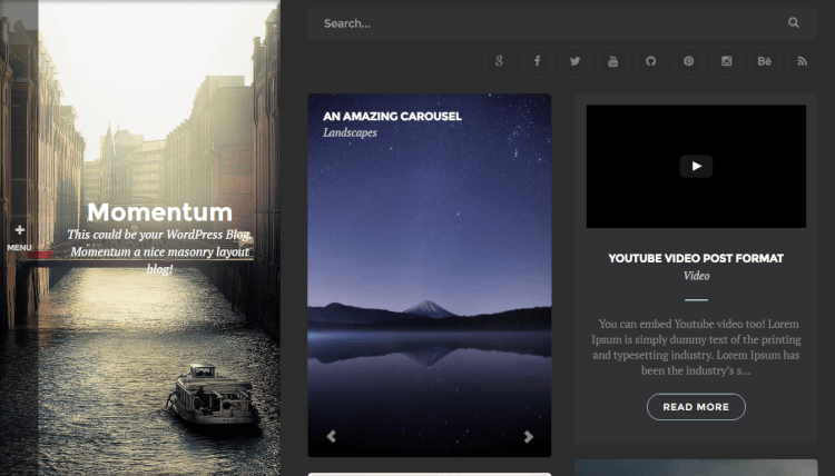 Momentum - Dark WordPress Blogging Theme