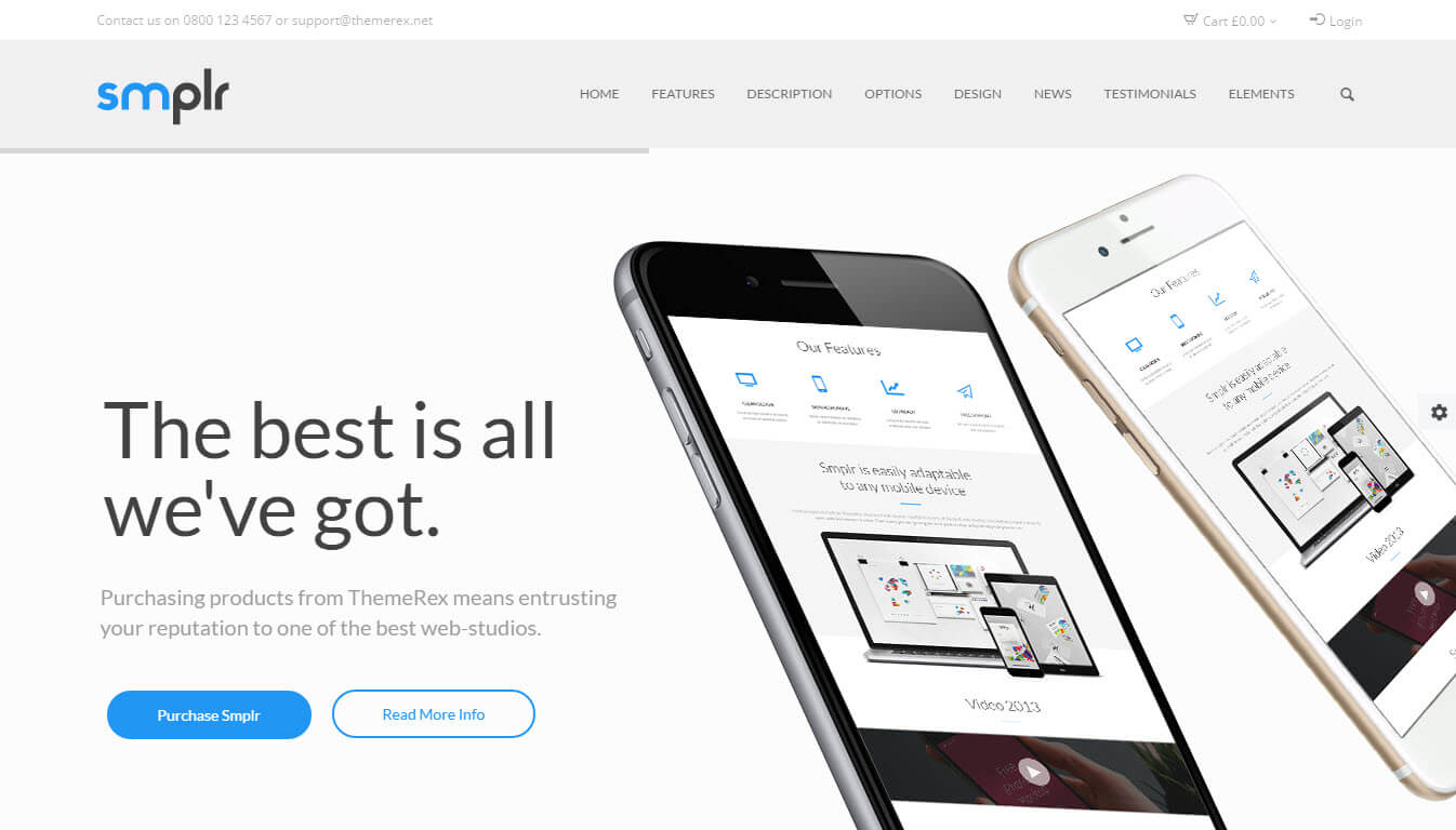 Smplr - Landing Page and Presentation WordPress Theme