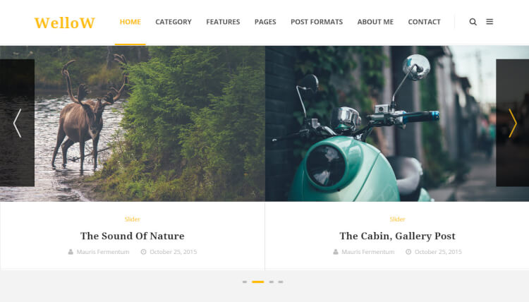 Wellow - Slideshow WordPress Blogging Theme