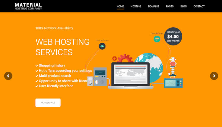 Host Material - Material Design Hosting WordPress Theme