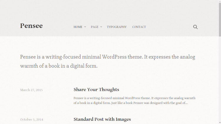 Pensee - New WordPress User Theme