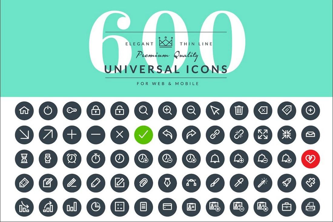 600 Ikon Garis Tipis Universal