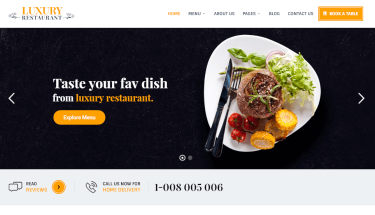 Luxury - Restaurant and Cafe WordPress Theme