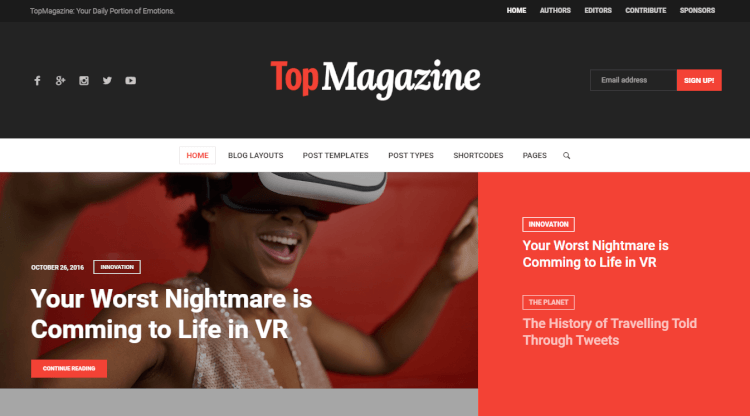 Top Magazine - News and Magazine WordPress Review Theme