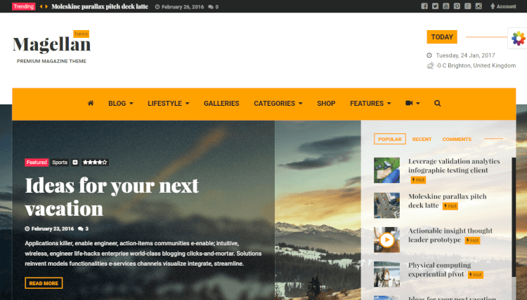 Magellan - Video News and Reviews WordPress Theme