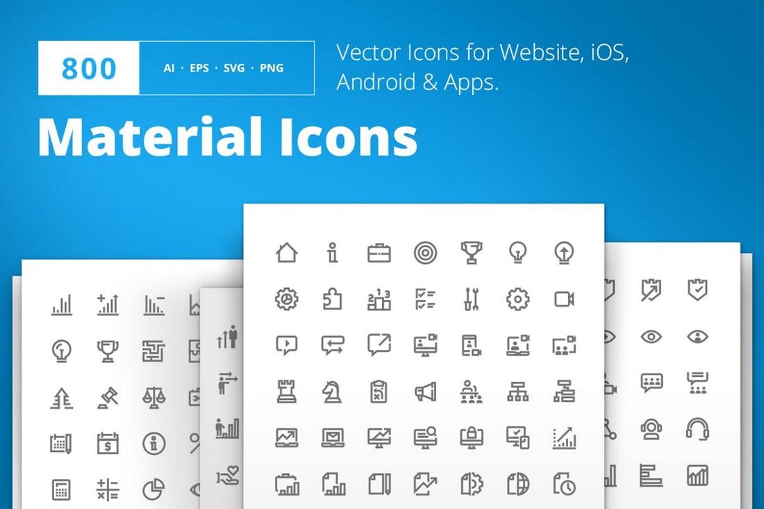 800 Ikon Desain Material untuk iPhone
