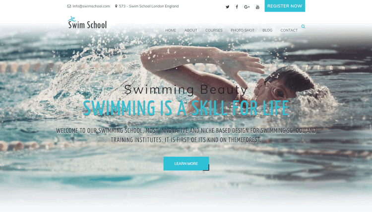 Swim School - Kids and Children WordPress Theme