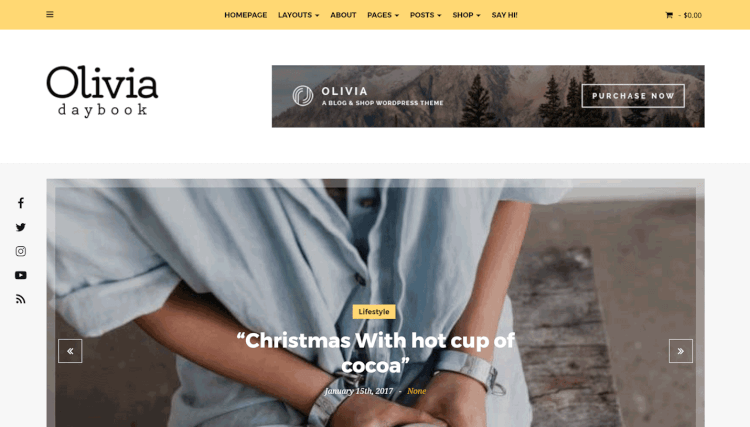 Olivia - Personal Blog and Shop WordPress Theme