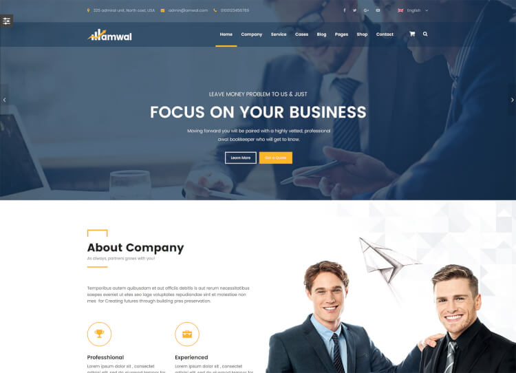 Amwal Consulting Theme