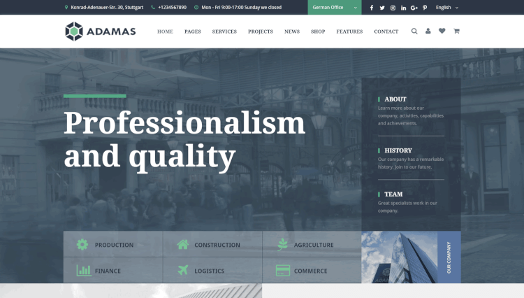 Adamas - Advanced Business and Corporate WordPress Theme