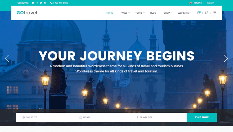 GoTravel - Travel Agency and Tourism WordPress Theme