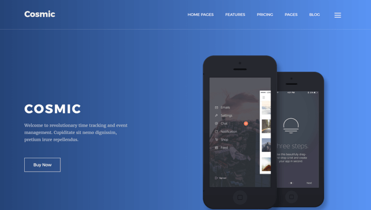 Cosmic - App Landing Page WordPress Theme