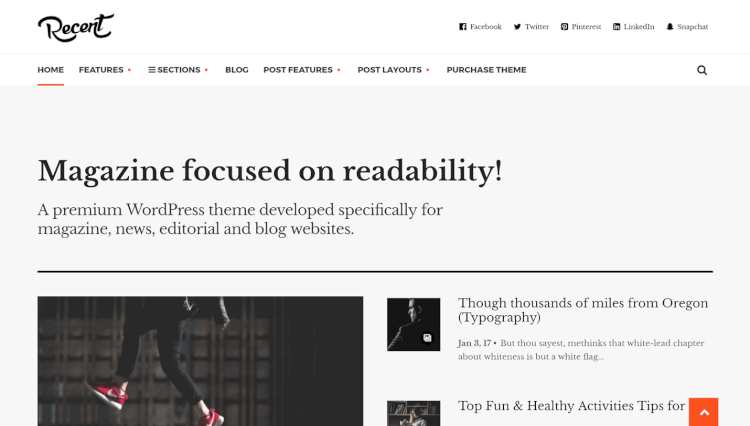 Recent - Readable Magazine WordPress Theme