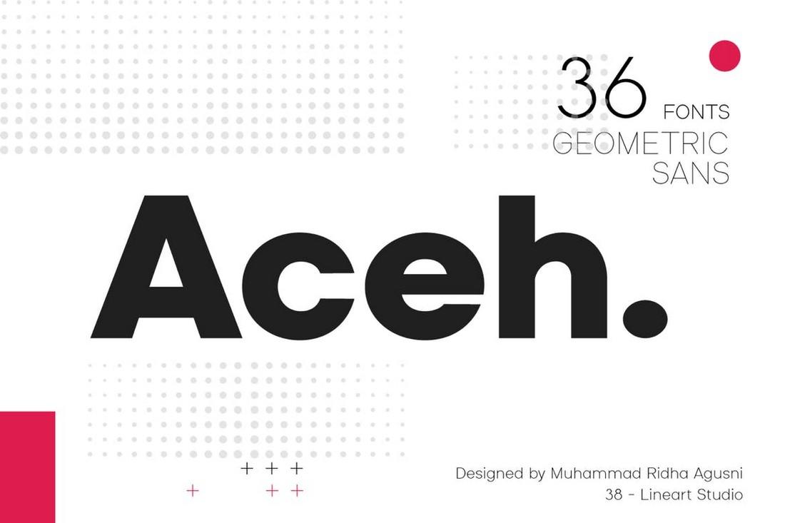 Aceh - Keluarga Font Geometris Modern