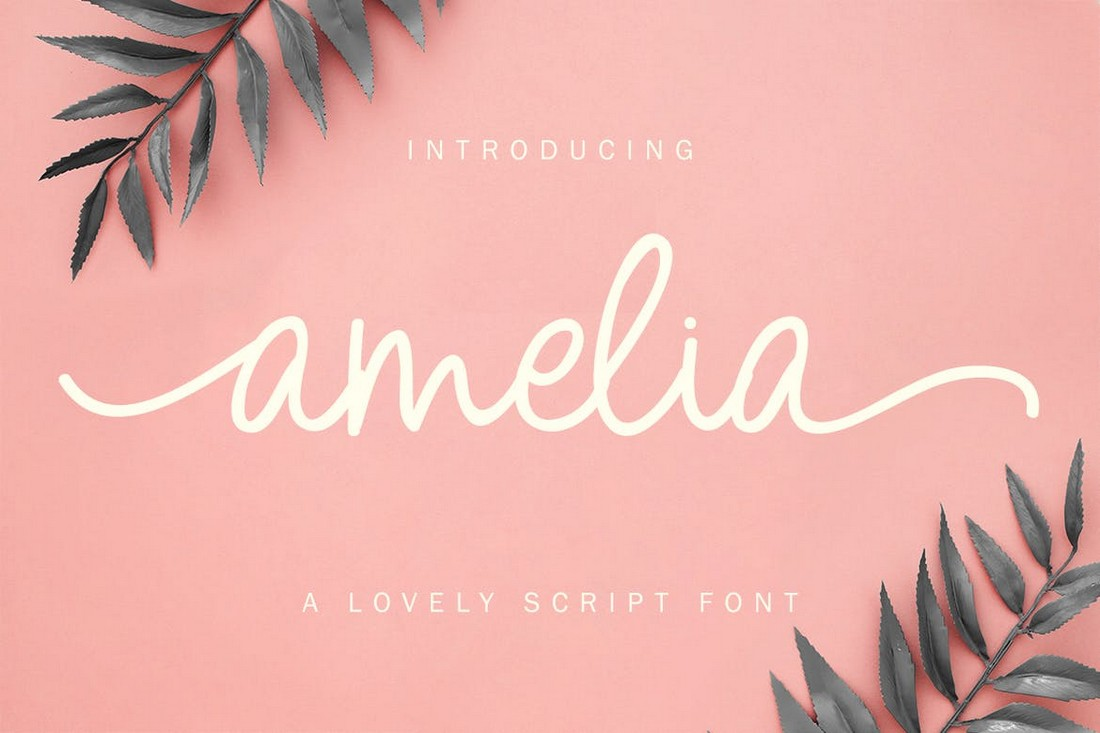 Amelia - Font Pernikahan Skrip Monoline