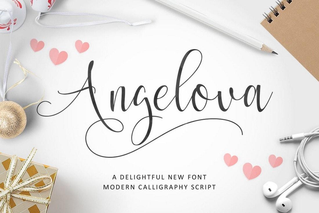Angelova - Feminine Script Calligraphy Font
