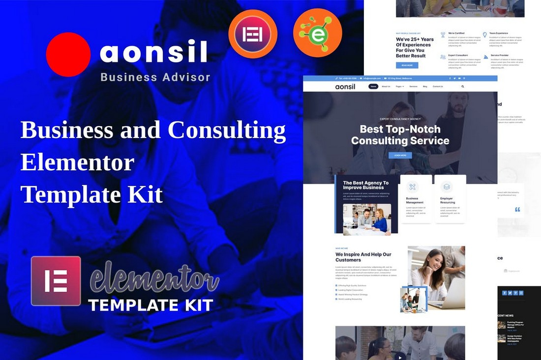 Aonsil - Business & Consulting Elementor Template Kit