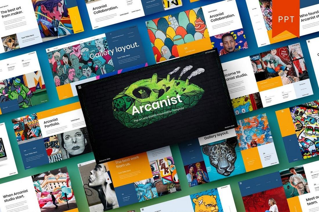 Templat PowerPoint Arcanist - Seni Pop