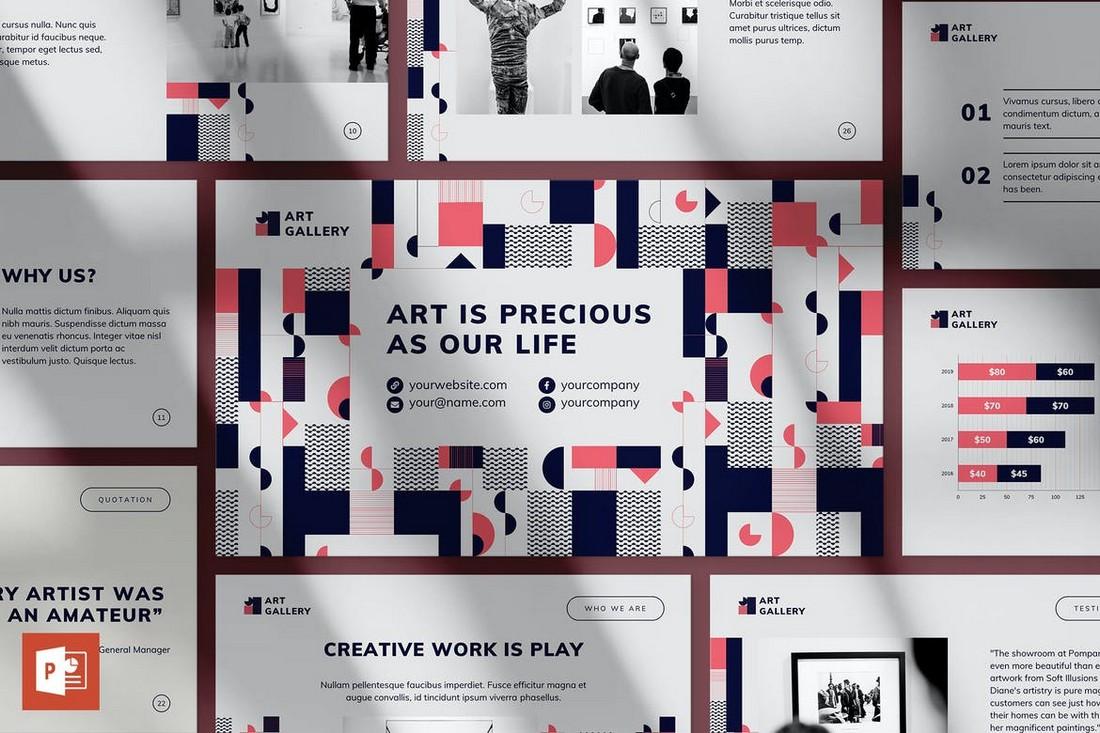 Template Presentasi PowerPoint Galeri Seni