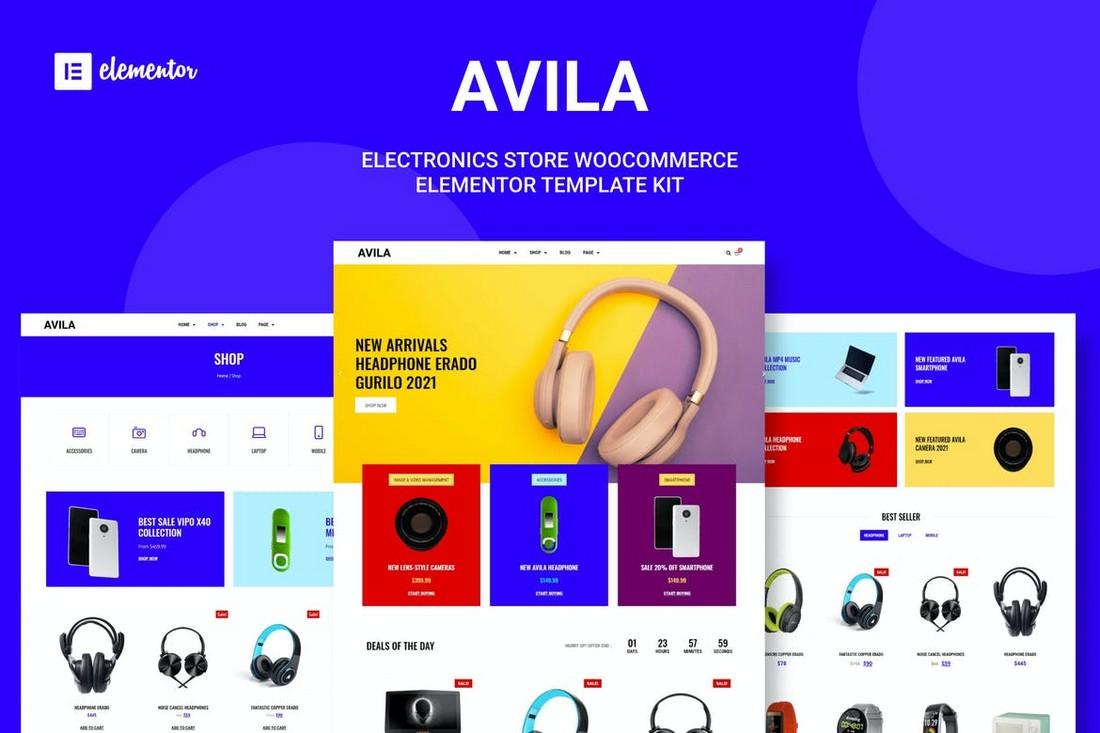 Avila - Electronic Store Elementor Template Kit