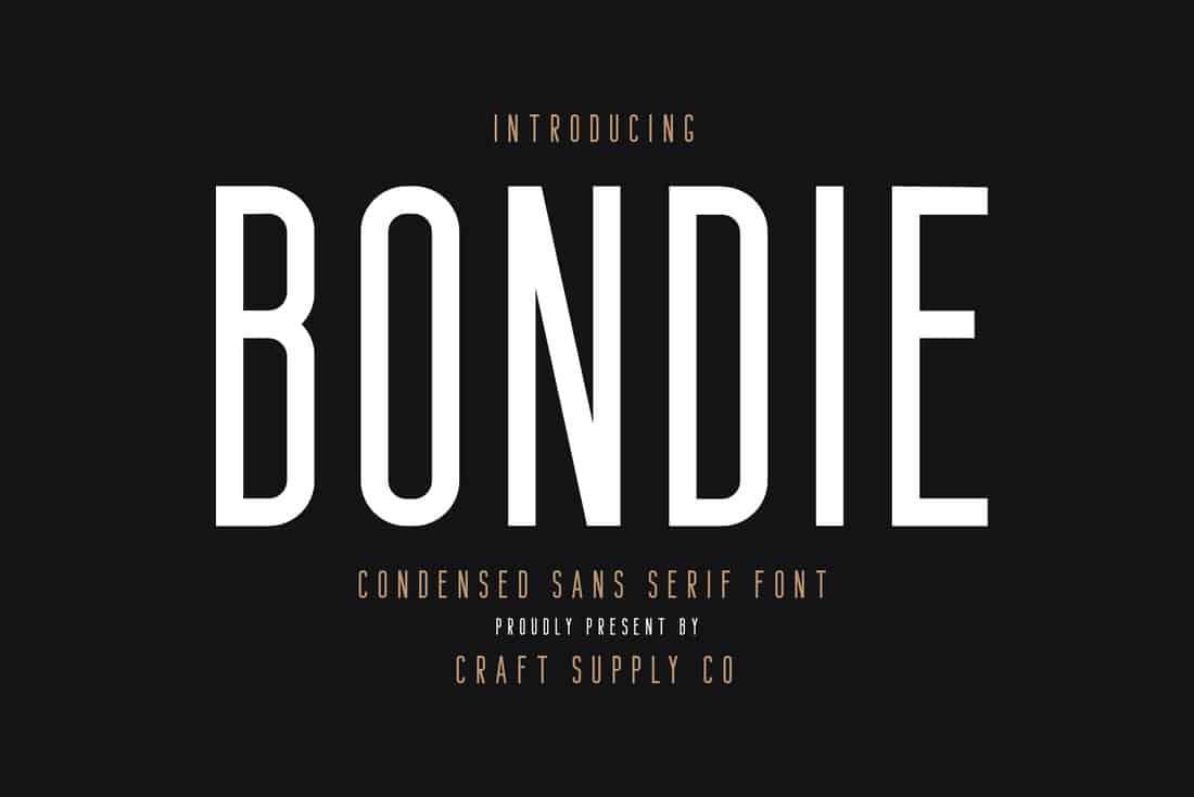Bondie - Free Condensed Sans Serif Font