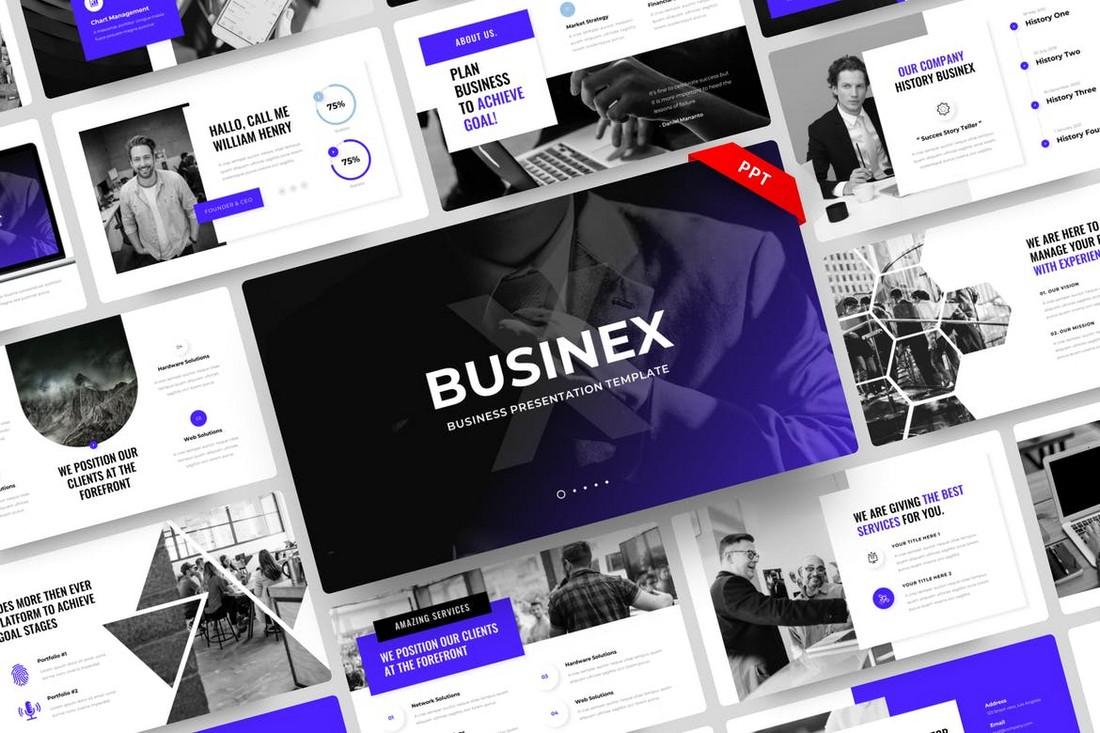 Businex - Template PowerPoint Konsultasi Perusahaan